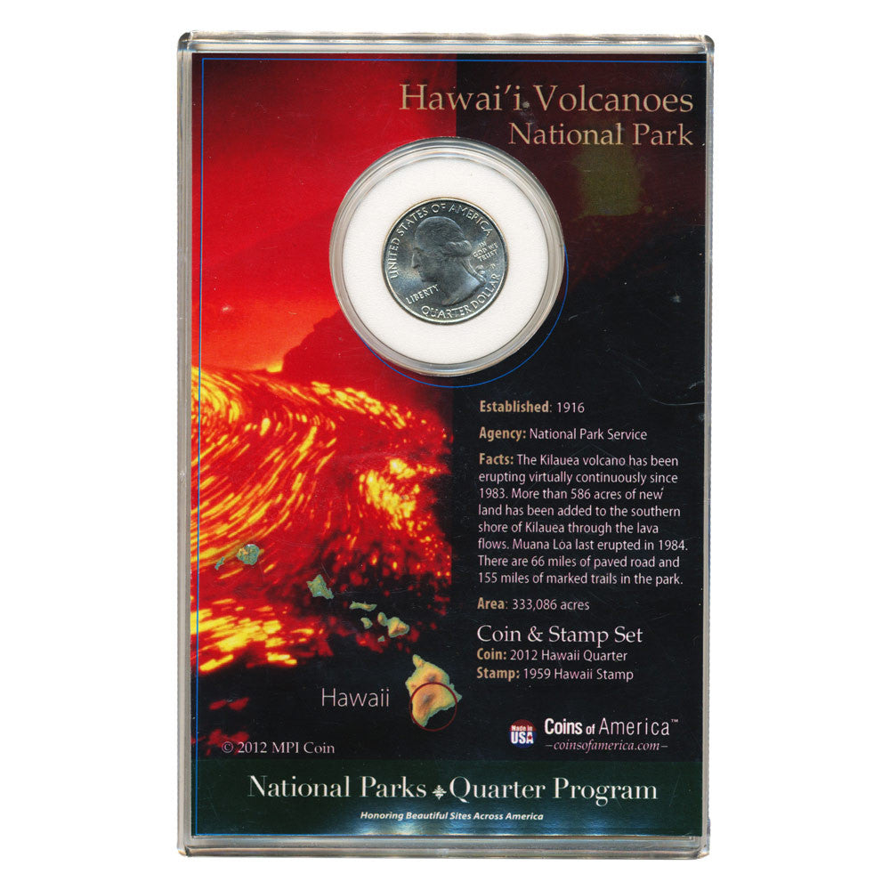 Hawaiʻi Volcanoes National Park Quarter and Stamp Set