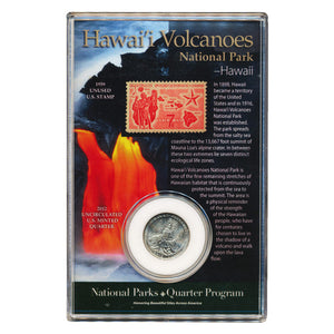 Silver Hawaiʻi Volcanoes National Park coin is shown with interpretive card that also has image of Kīlauea lava flows entering the ocean.