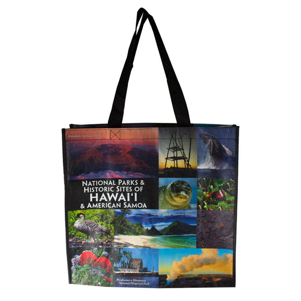 Bag is made of a collage of iconic national park images from six national parks in Hawaiʻi and American Samoa. Monk seals, lehua blossoms, volcanic plumes, and more.