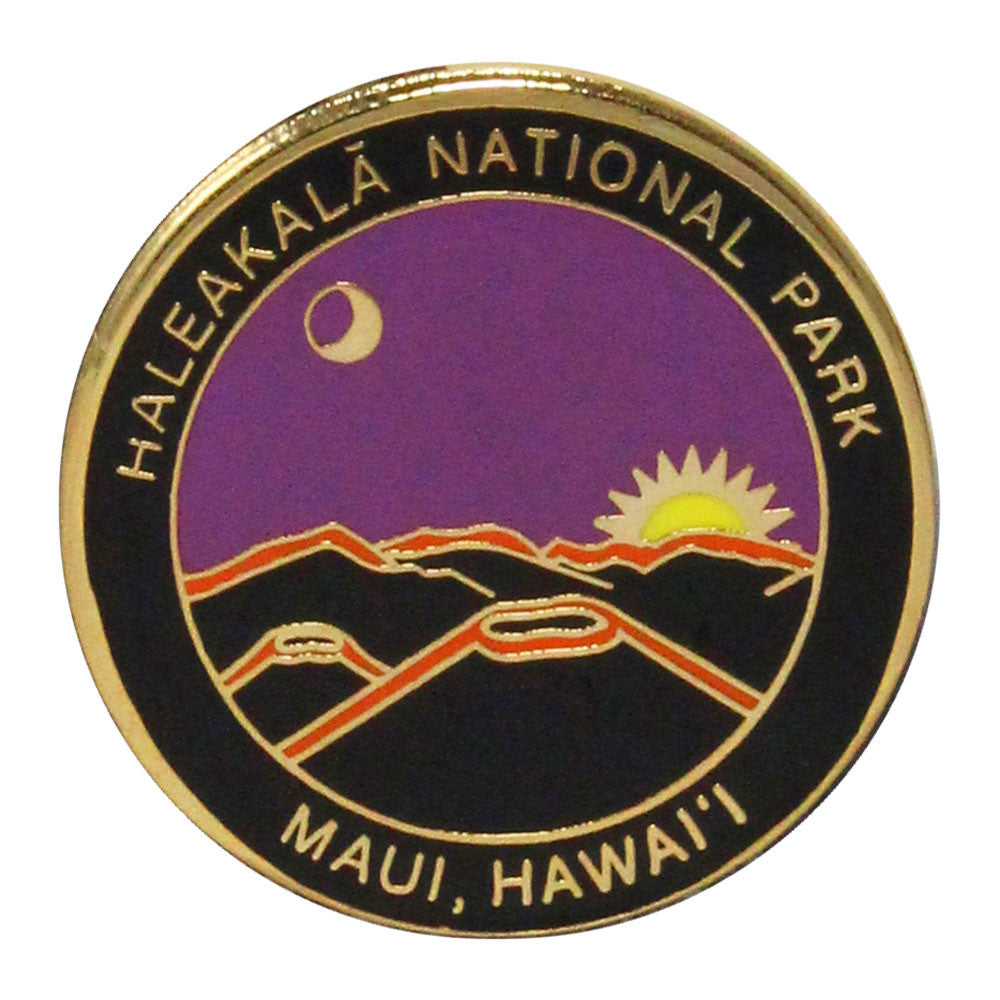 Round pin shows stylized depiction of the sun rising over the summit of Haleakalā volcano. Name of the park runs around the rim along with the location: Maui, Hawaiʻi. Pin is metal, purple, black and gold.