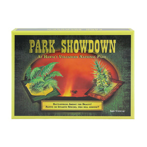 Game box cover shows native and non-native plants on either side of a red lava fountain.