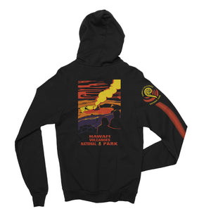 Hawaii Volcanoes National Park hoodie features vintage style art of the lava lake at halemaumau at the summit of kilauea