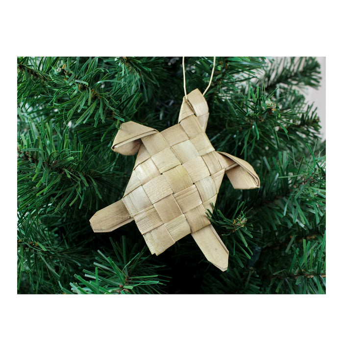 Handwoven Lauhala Holiday Ornament - Sea Turtle (Large Honu)