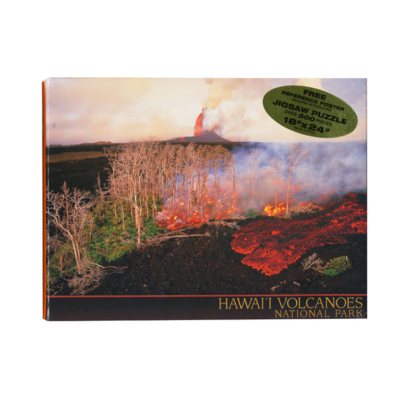 Puzzle box cover shows red and gold lava fountains and flows burning through a forest and over a black lava field.