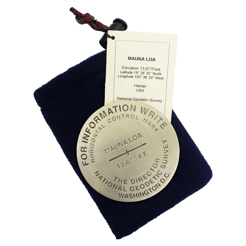 "This 3"" heavy pewter medallion displays the summit height of Mauna Loa Volcano and other USGS information."