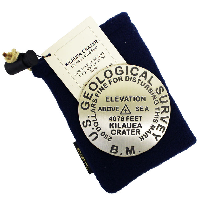 "This 3"" heavy pewter medallion displays the summit height of Kīlauea Volcano, 4,076 ft., and other USGS information."