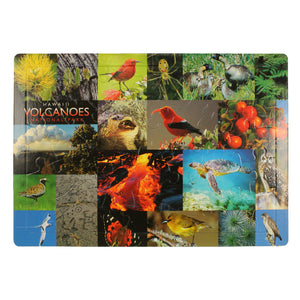Puzzle is collage of Hawaiian plants and birds, such as ʻapapane, ʻohiʻa lehua blossoms, ʻohelo berries and the Hawaiian hawk.