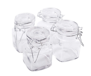 "4 LTB 3 1/4"" Candle Making Glass 3oz Jar with Hinge Glass Lid for"