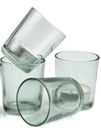 LTB Premium Set of 4 Light Green Clear Votive Candle Glasses
