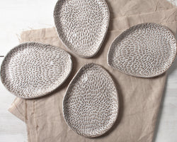 Petal Collection Palette Hors d'ouevre Dish Handmade Organic Stoneware Ceramic Pottery Serving Plate