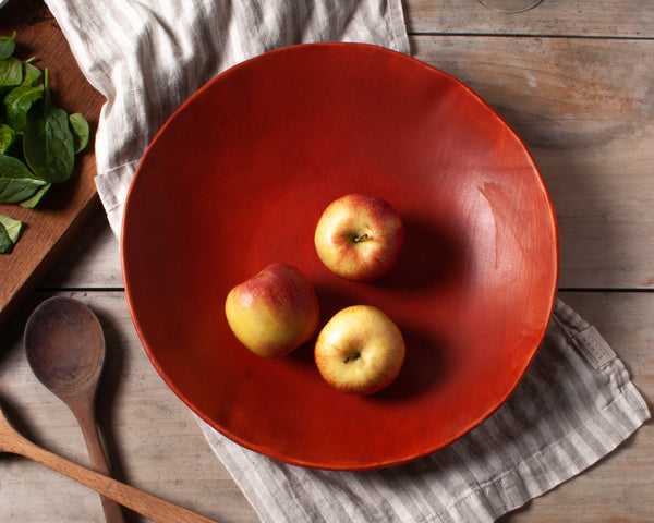 Vintage Inspired Large Serving Bowl in Rust Red Handmade Organic Stoneware Ceramic Pottery Salad Display Dish