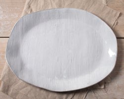 White Chocolate Vintage Linen Texture Large Oval Platter Handmade Natural Organic Stoneware Ceramic Pottery Serving Platter