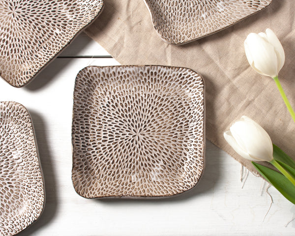 Petal Collection Square Hors d'ouevre Dish Handmade Organic Stoneware Ceramic Pottery Serving Plate