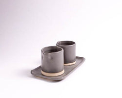 Charcoal Shino Sugar + Creamer Set