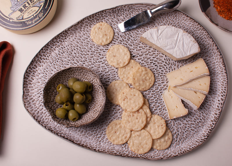 Petal Collection Palette Charcuterie Platter Handmade Natural Organic Stoneware Ceramic Pottery Espresso Clay White Matte Glaze Texture