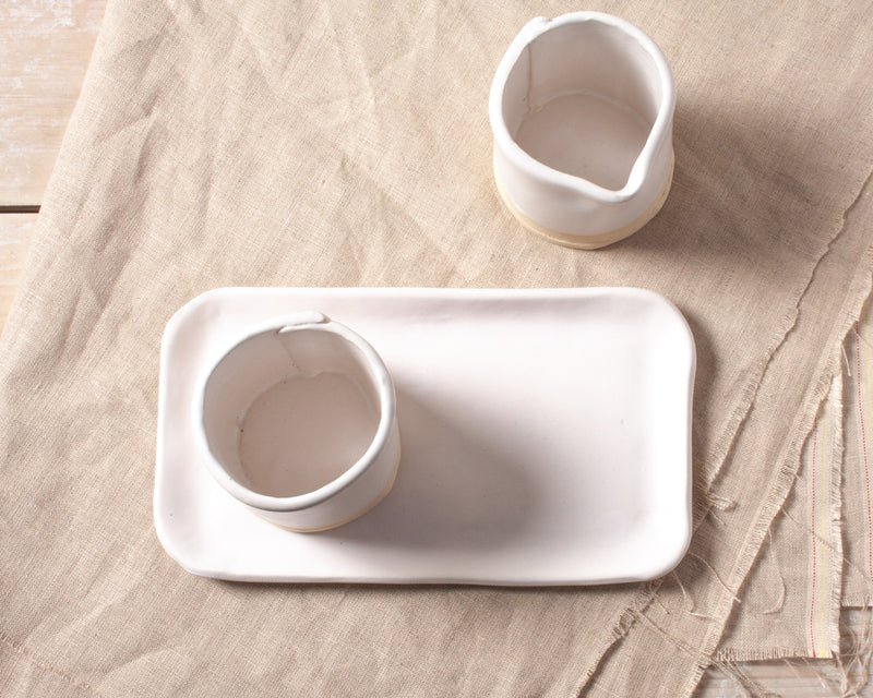 White Chocolate Sugar and Creamer Set Handmade Organic Stoneware Ceramic Pottery Serving Dish and Tray for Coffee or Tea