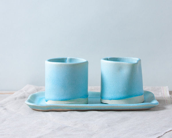 Aqua Matte Sugar and Creamer Set Handmade Organic Stoneware Ceramic Pottery Serving Dish and Tray for Coffee or Tea