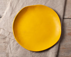 Vintage Inspired Side Salad Plate in Gold Yellow Handmade Organic Stoneware Ceramic Pottery