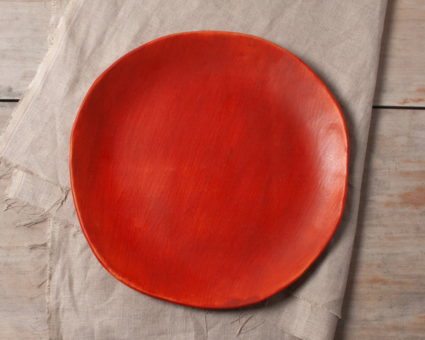 Vintage Inspired Side Salad Plate in Rust Red Handmade Organic Stoneware Ceramic Pottery