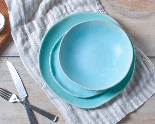 Aqua Matte 3 Piece Dinnerware Set Handmade Organic Stoneware Ceramic Pottery Set includes Dinner Plate Salad Plate and Soup Bowl