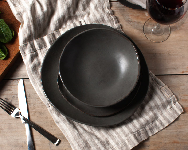 Charcoal Shino 4 Piece Dinner Plate Set Handmade Organic Stoneware Ceramic Pottery Dinnerware