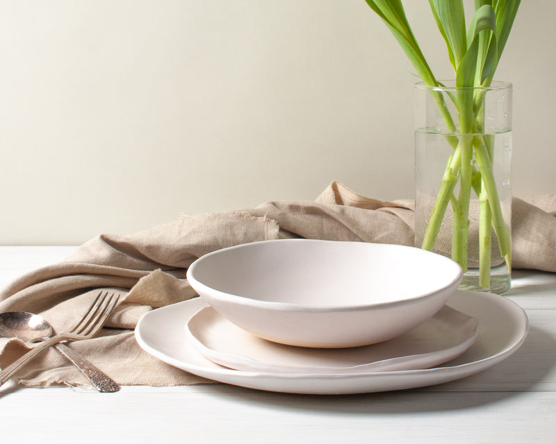 White Matte 3 Piece Dinnerware Set Handmade Organic Stoneware Ceramic Pottery Set includes Dinner Plate Salad Plate and Soup Bowl