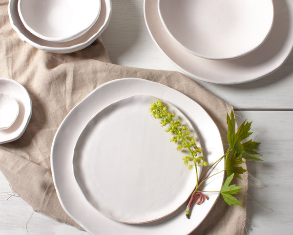 White Matte Salad Plate Handmade Organic Stoneware Ceramic Pottery Dinnerware Side Serving Dish