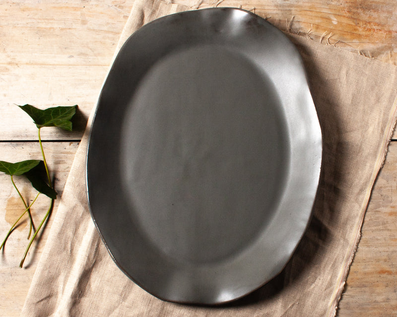 Charcoal Shino Large Oval Platter Handmade Natural Organic Stoneware Ceramic Pottery Serving Dish