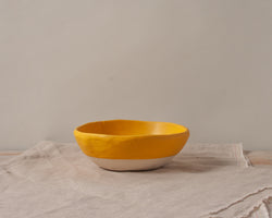 Vintage Inspired Ice Cream Bowl in Gold Yellow Handmade Organic Stoneware Ceramic Pottery