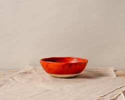 Vintage Inspired Ice Cream Bowl in Rust Red Handmade Organic Stoneware Ceramic Pottery
