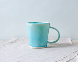 Aqua Matte Flare Mug Handmade Organic Stoneware Ceramic Pottery Cup for Coffee or Tea