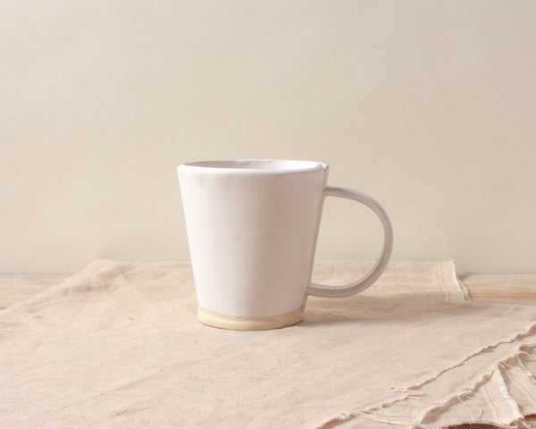 White Matte Flare Mug Handmade Organic Stoneware Ceramic Pottery Cup for Coffee or Tea