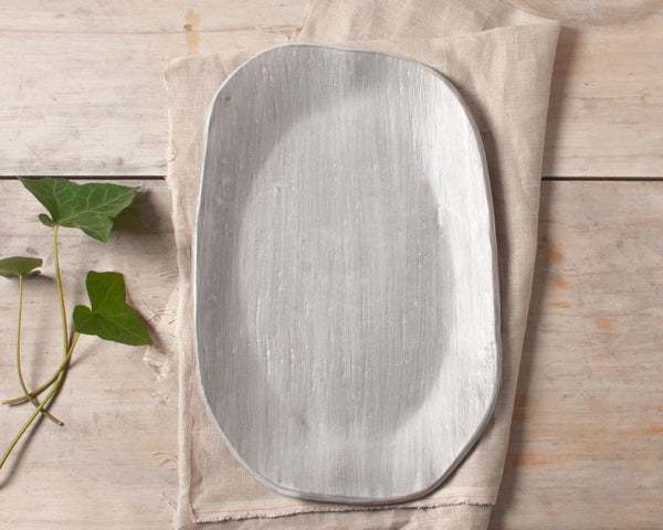 Organic Brushed Platter with Antique Linen Inlay Handmade Natural Organic Stoneware Ceramic Pottery Serving Dish