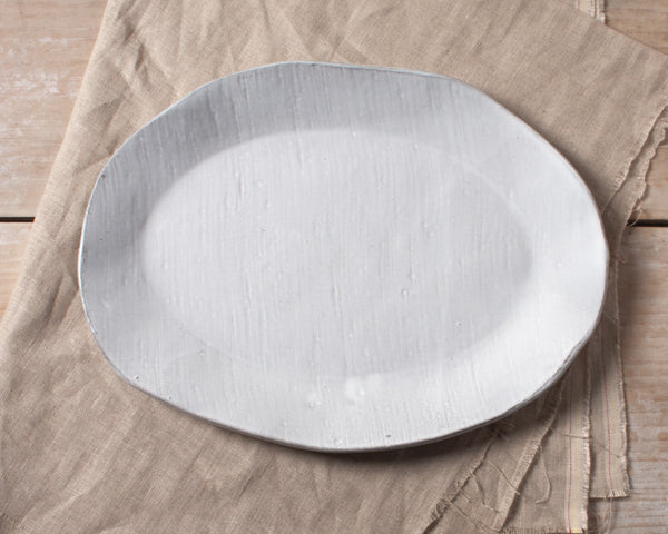 White Chocolate Vintage Linen Texture Medium Oval Platter Handmade Natural Organic Stoneware Ceramic Pottery Serving Platter