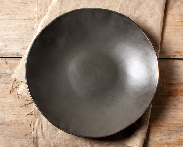 Charcoal Shino Large Serving Bowl Handmade Organic Stoneware Ceramic Pottery Salad Display Dish