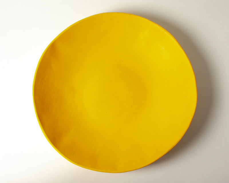 Vintage Inspired Large Serving Bowl in Gold Yellow Handmade Organic Stoneware Ceramic Pottery Salad Display Dish