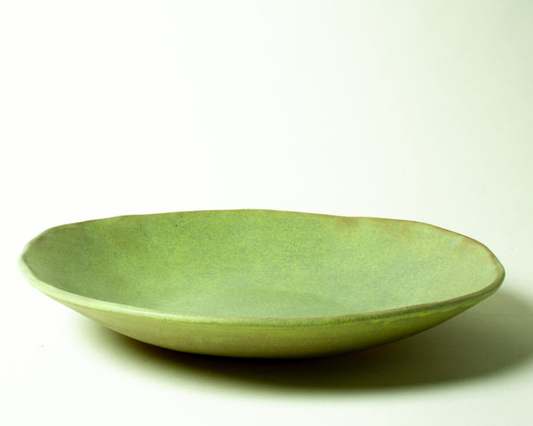Vintage Inspired Large Serving Bowl in Moss Green Handmade Organic Stoneware Ceramic Pottery Salad Display Dish