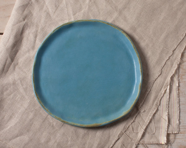 Vintage Inspired Side Salad Plate in Dusk Blue Handmade Organic Stoneware Ceramic Pottery