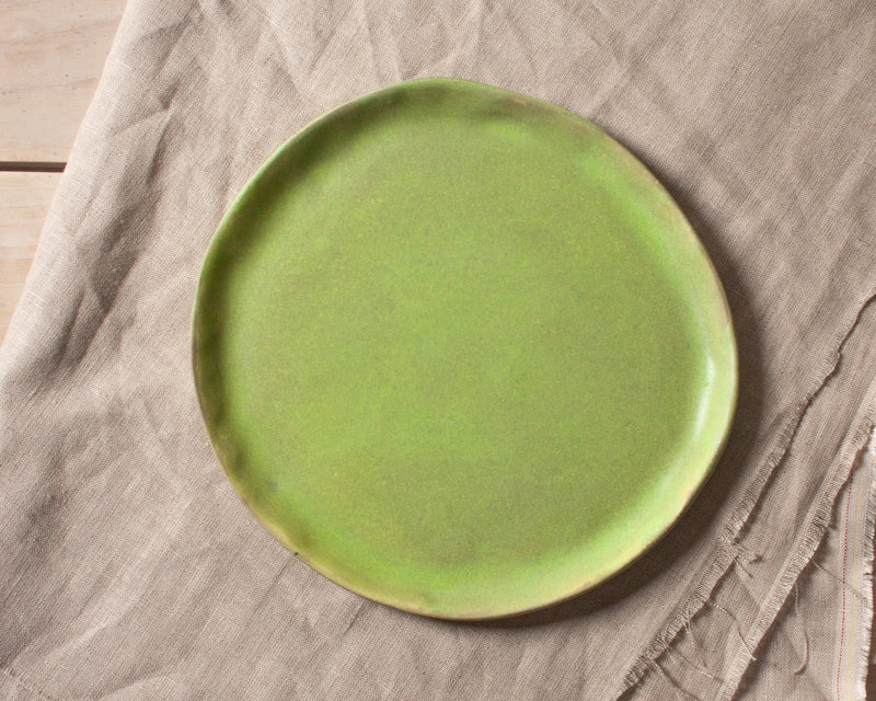 Vintage Inspired Side Salad Plate in Moss Green Handmade Organic Stoneware Ceramic Pottery