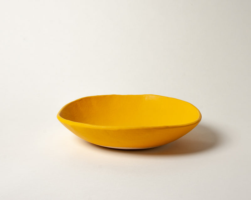 Vintage Inspired Soup Bowl in Gold Yellow Handmade Organic Stoneware Ceramic Pottery Dinnerware for Soup Salad or Cereal