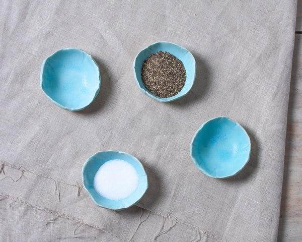 Aqua Matte 4 Piece Mini Spice Dish Set Handmade Organic Stoneware Ceramic Pottery Small Sauce Side Bowl