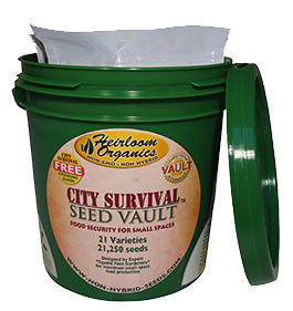City Survival Seed Vault Heirloom Organics Bucket