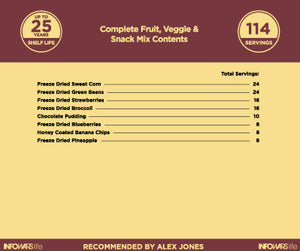 Fruit, Veggie, And Snack Mix items and food inside