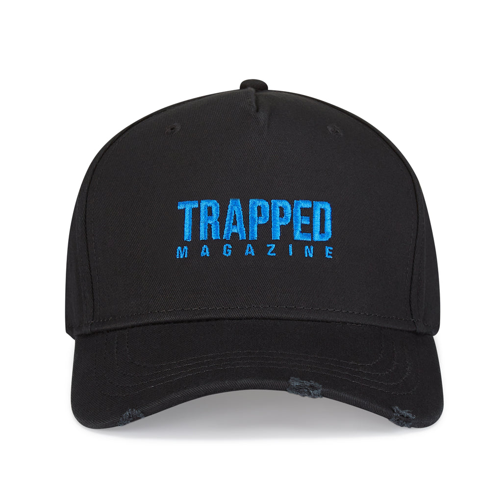 Neon Blue Small Logo Distressed Trapped Magazine Baseball Cap