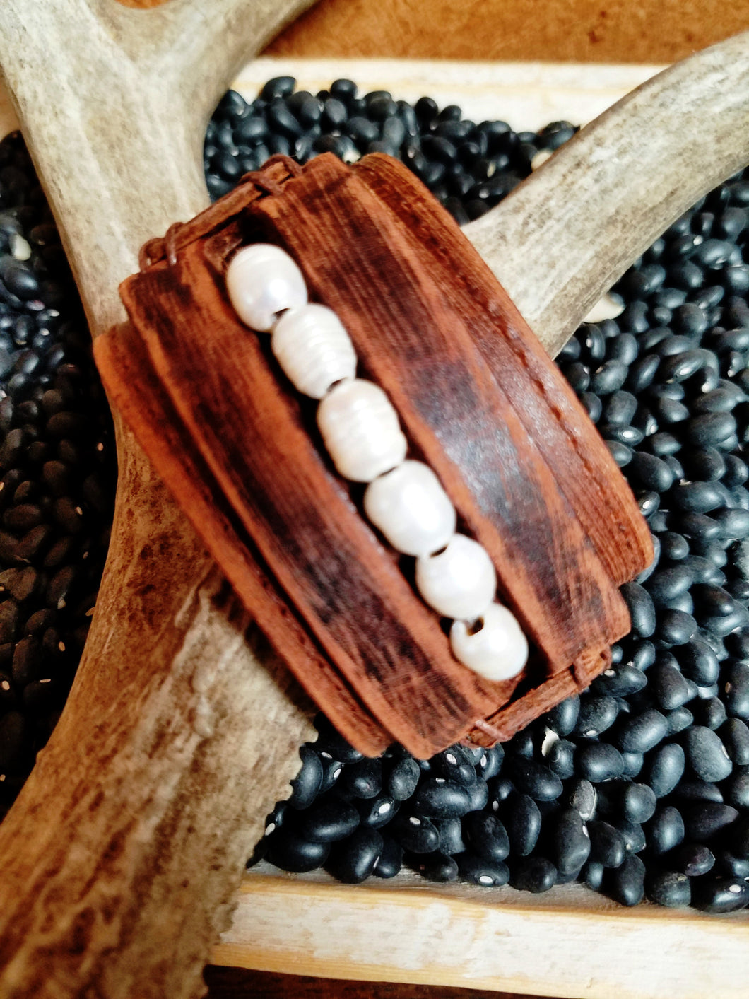Vintage Leather Cuff with Freshwater Pearl Accent Strand