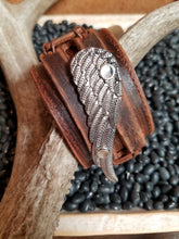 SILVER WING Distressed Leather Cuff