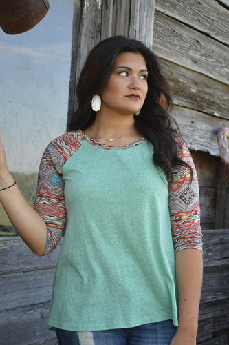 Dreamin Aztec Top, Mint