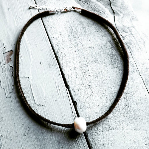 Floating Pearl on Brown Leather Choker Necklace