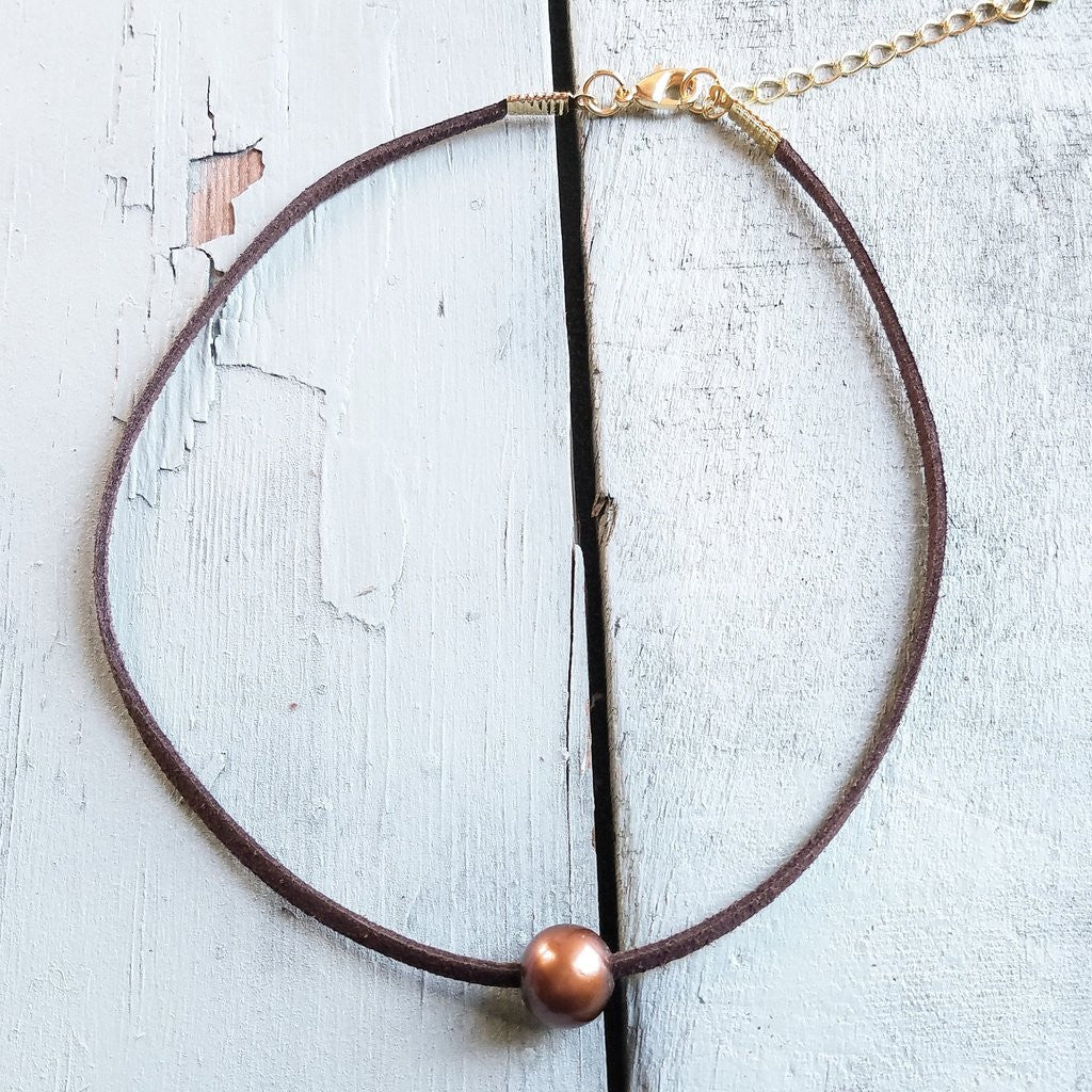 Floating Bronze Pearl on Brown Choker
