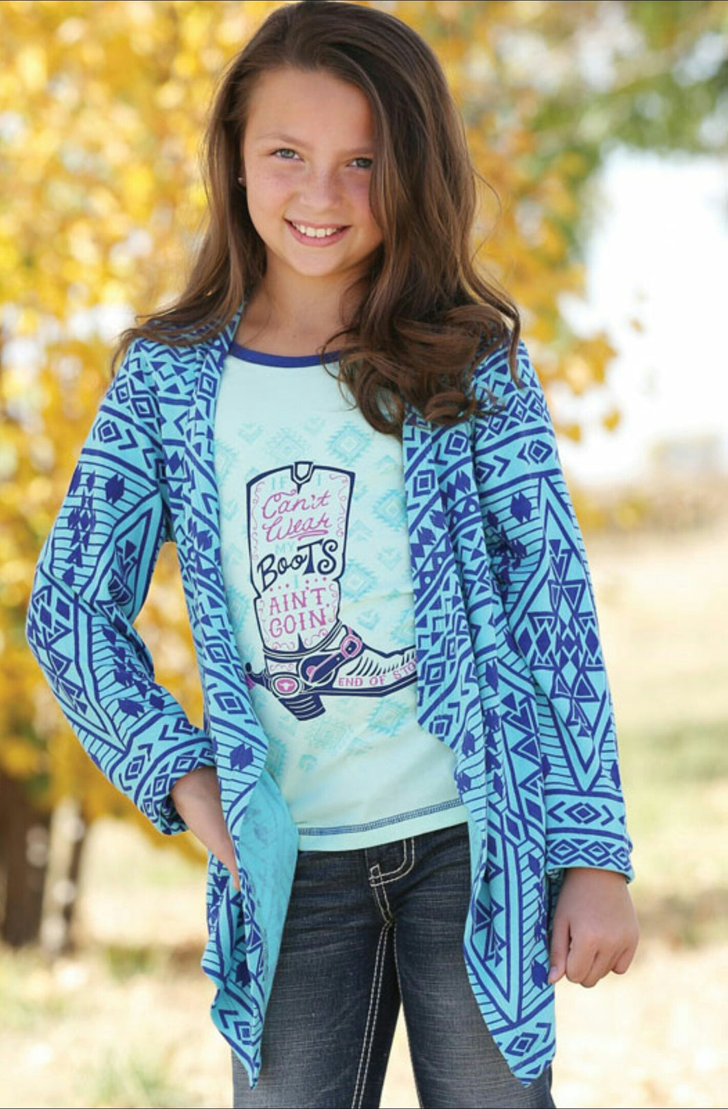 Cruel Girl Kids Blue Aztec Cardigan